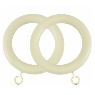 Museum 55mm Wooden Curtain Rings (Pack of 4) - Antique White